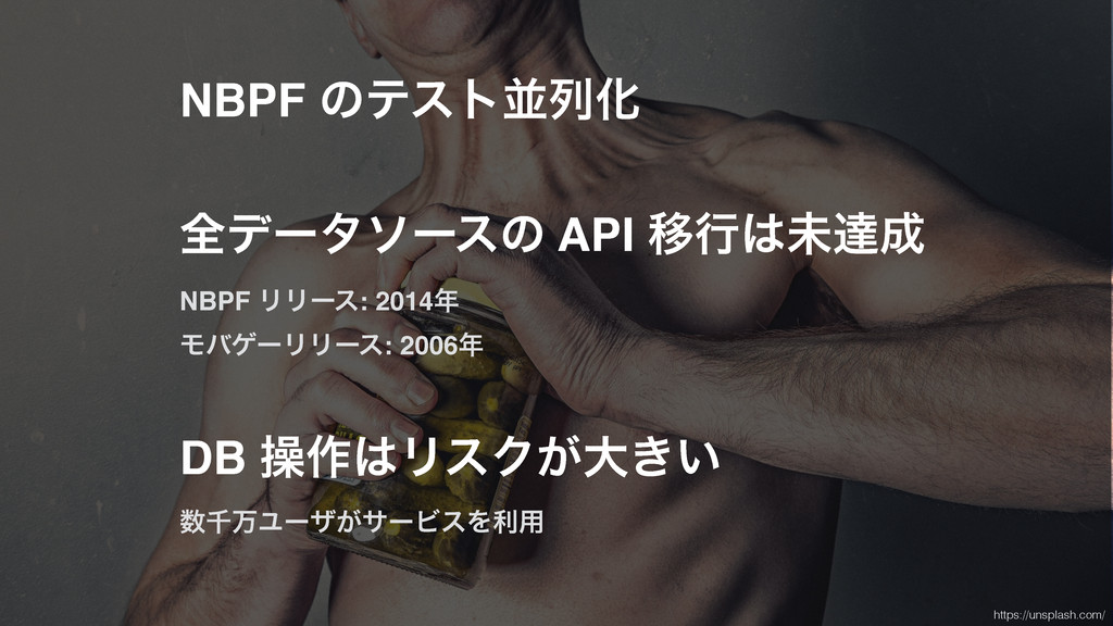 NBPF ͷςετฒྻԽ શσʔλιʔεͷ API Ҡߦະୡ NBPF ϦϦʔε: 201...