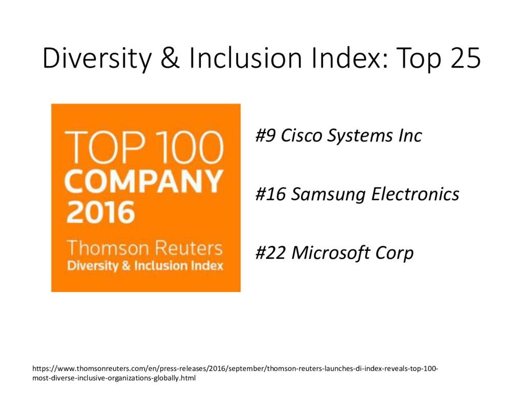 Diversity & Inclusion Index: Top 25 #9 Cisco Sy...