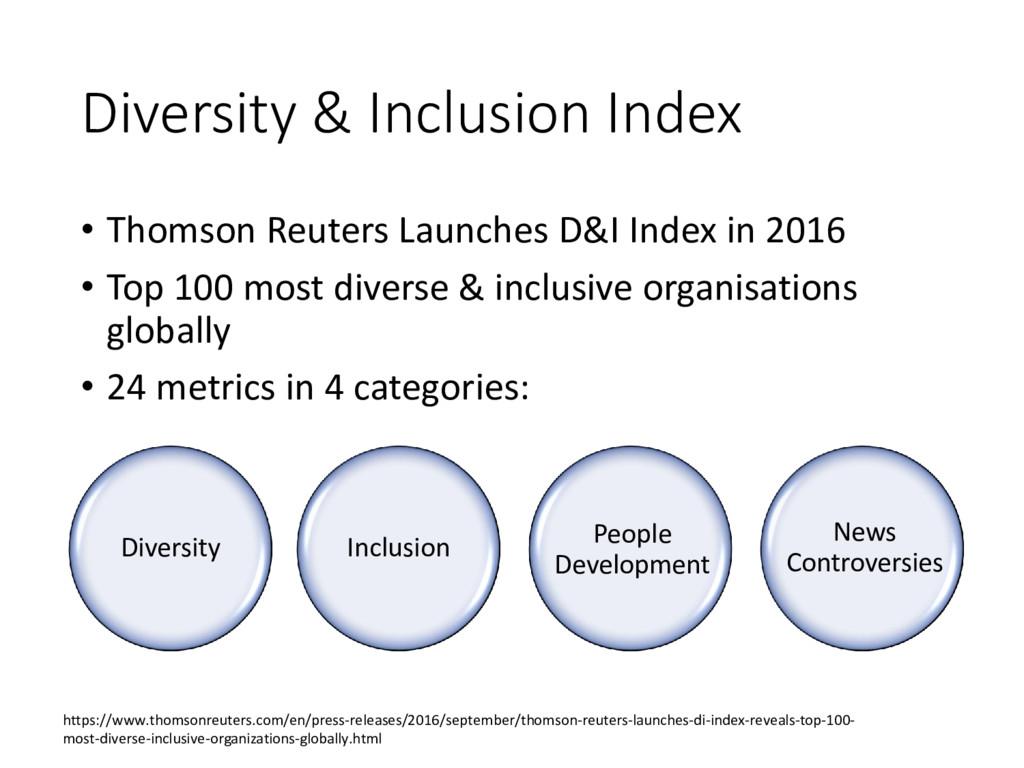 Diversity & Inclusion Index • Thomson Reuters L...