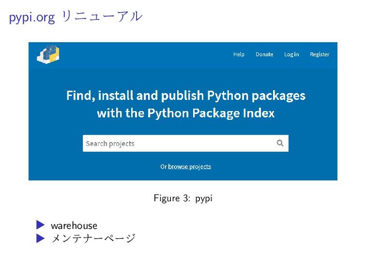 pypi.org リニューアル Figure 3: pypi ▶ warehouse ▶ メン...
