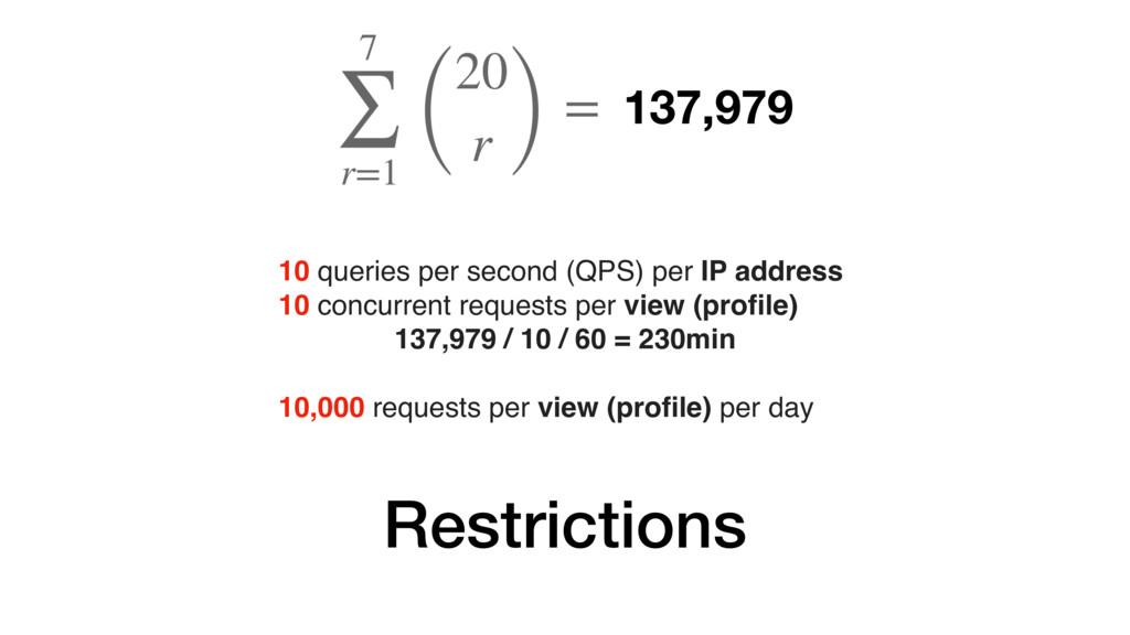 Restrictions 137,979 10 queries per second (QPS...