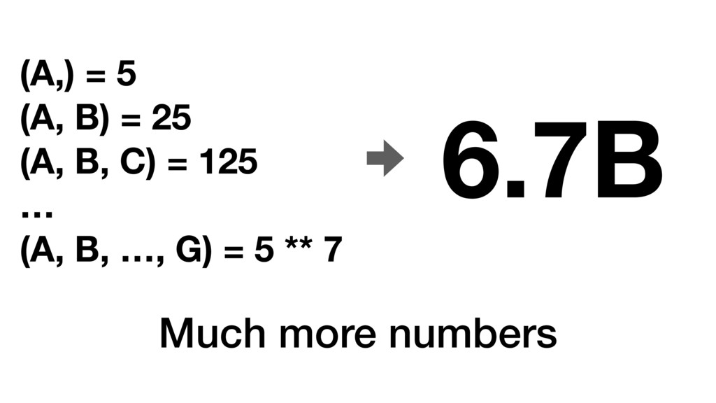 Much more numbers (A,) = 5 (A, B) = 25 (A, B, C...