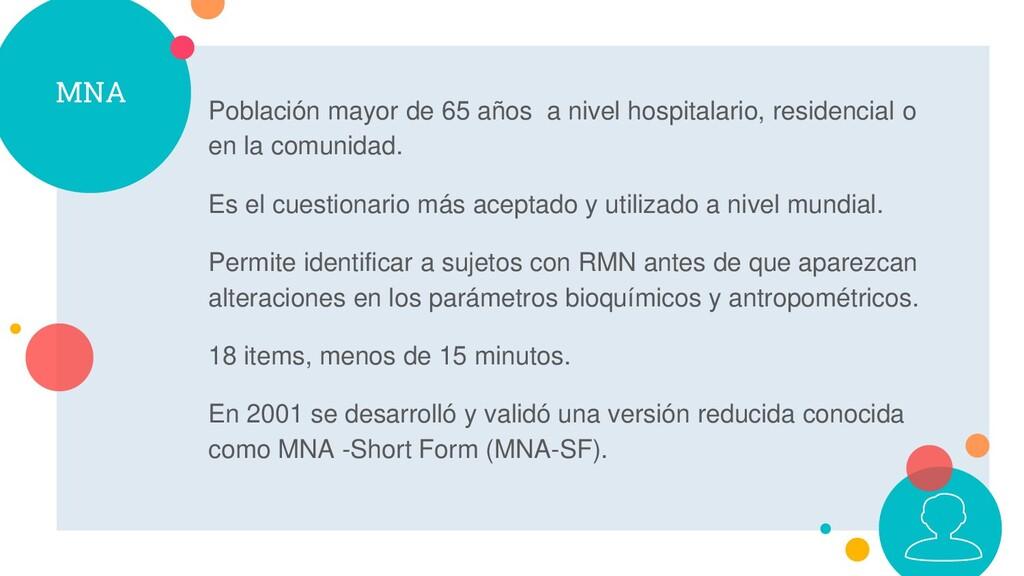 MNA Población mayor de 65 años a nivel hospital...