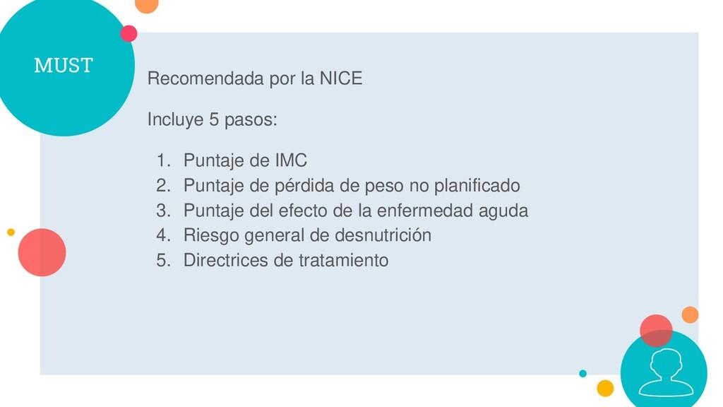 MUST Recomendada por la NICE Incluye 5 pasos: 1...