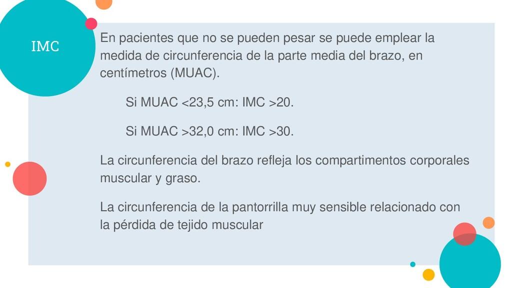 IMC En pacientes que no se pueden pesar se pued...
