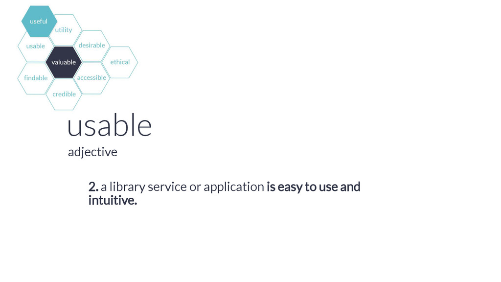 usable 2. a library service or application is e...