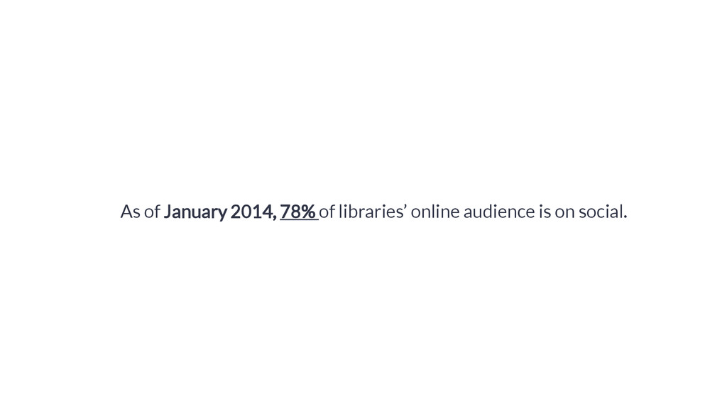 As of January 2014, 78% of libraries' online au...