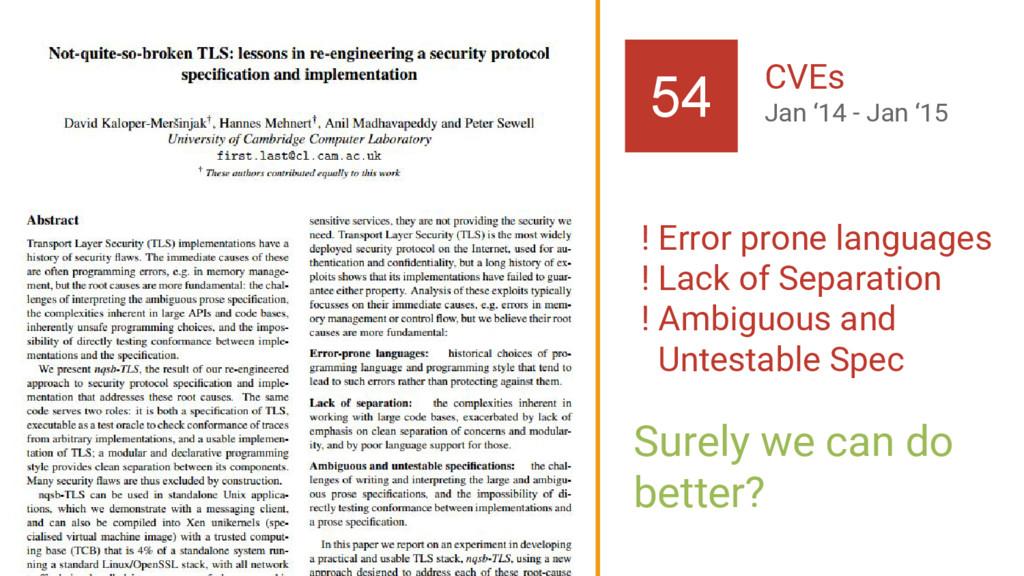 TLS 13 54 CVEs Jan '14 - Jan '15 ! Error prone ...