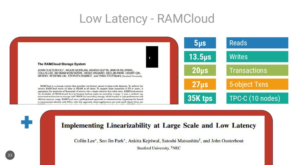 Low Latency - RAMCloud 33 Reads 5μs Writes 13.5...