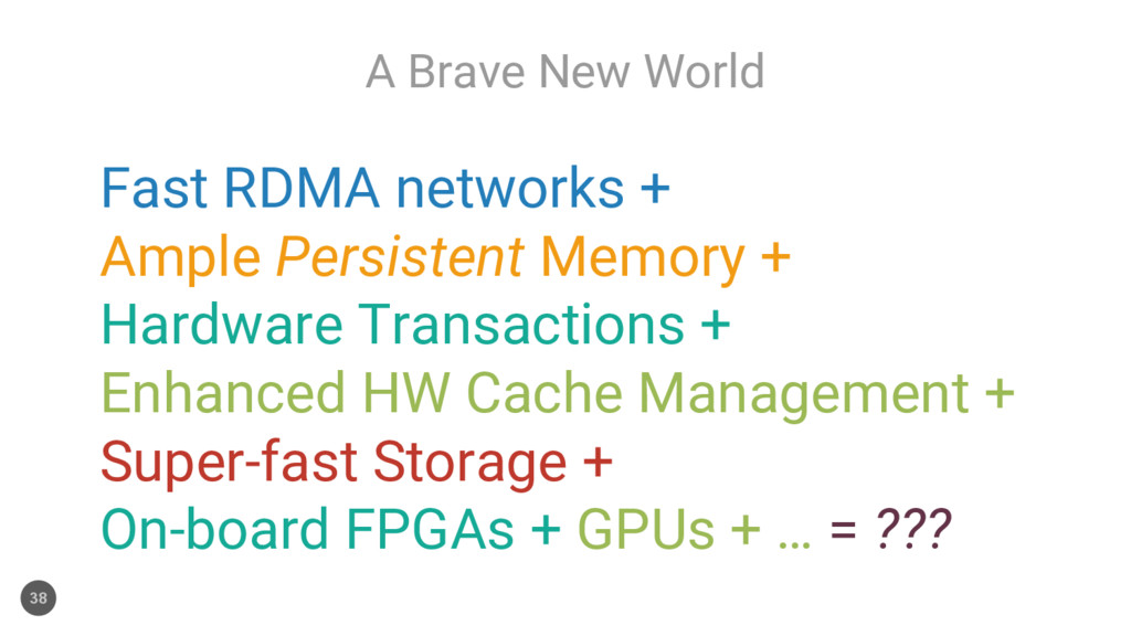 A Brave New World 38 Fast RDMA networks + Ample...