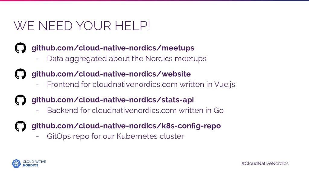 #CloudNativeNordics WE NEED YOUR HELP! github.c...