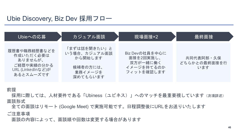 46 Ubie Discovery, Biz Devのポジション例 46 医療データプラットフ...