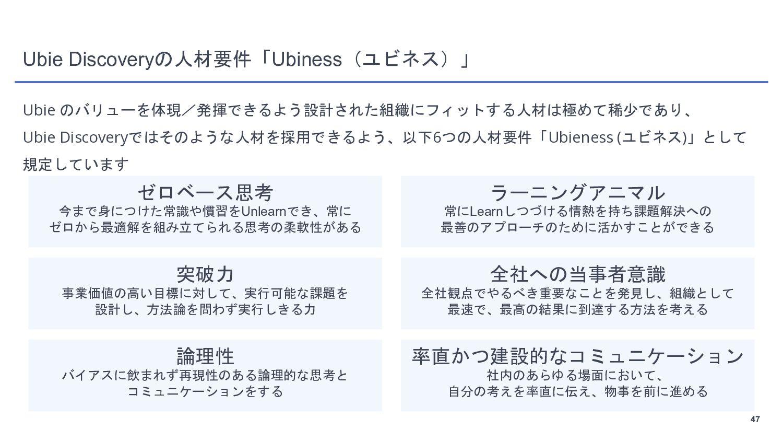 47 Ubie Discovery, Biz Dev 採用フロー Ubieへの応募 カジュアル...