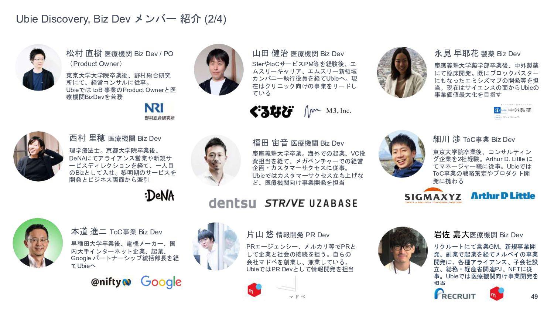 49 Ubie Discovery, Biz Dev メンバー 紹介 (1/3) 島津 尚人 ...
