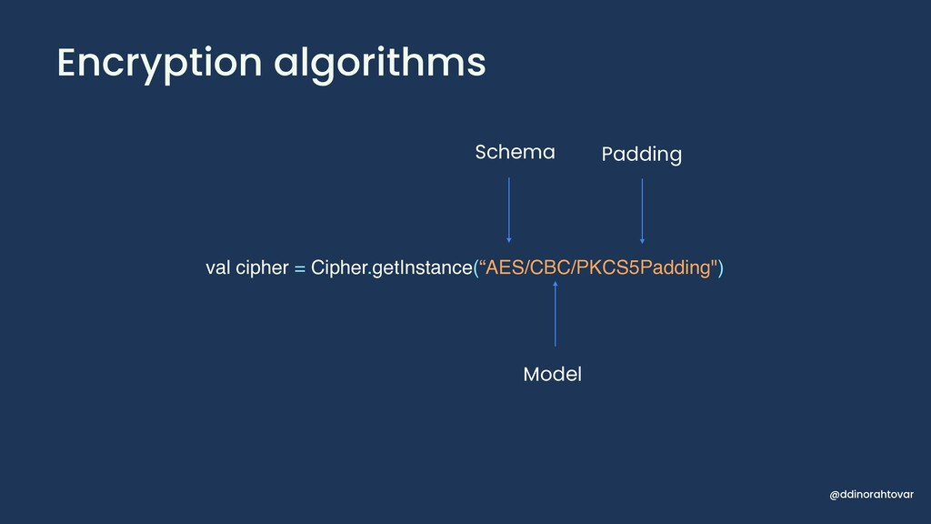 Encryption algorithms val cipher = Cipher.getIn...