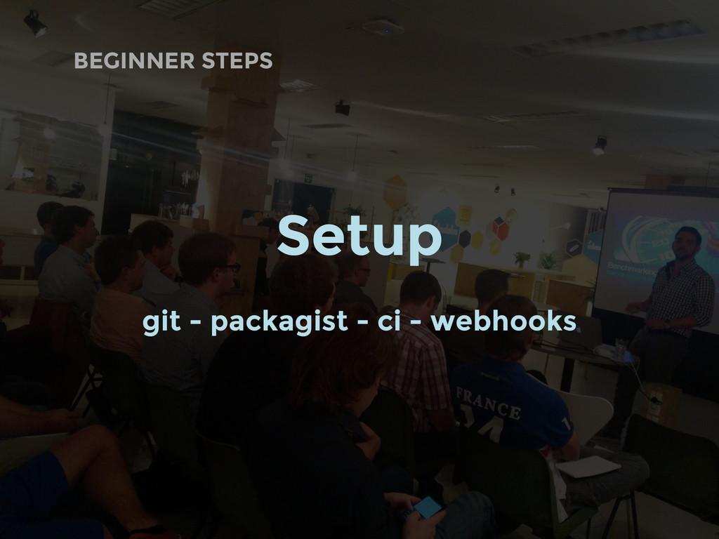 BEGINNER STEPS Setup git - packagist - ci - web...