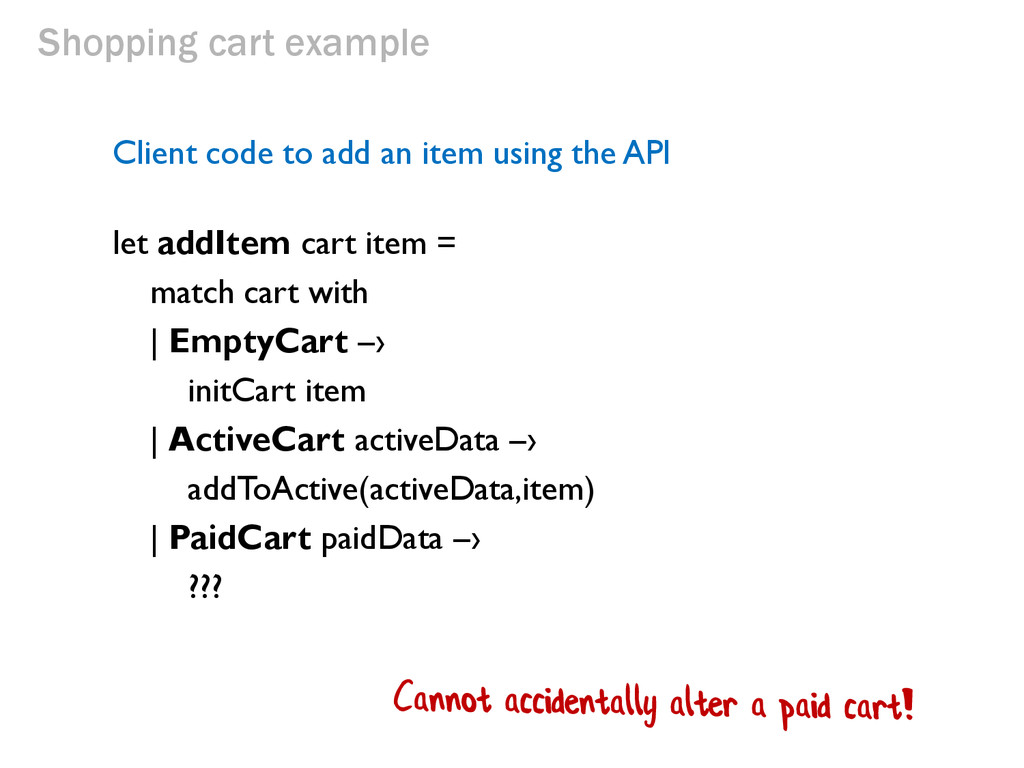 Shopping cart example Client code to add an ite...