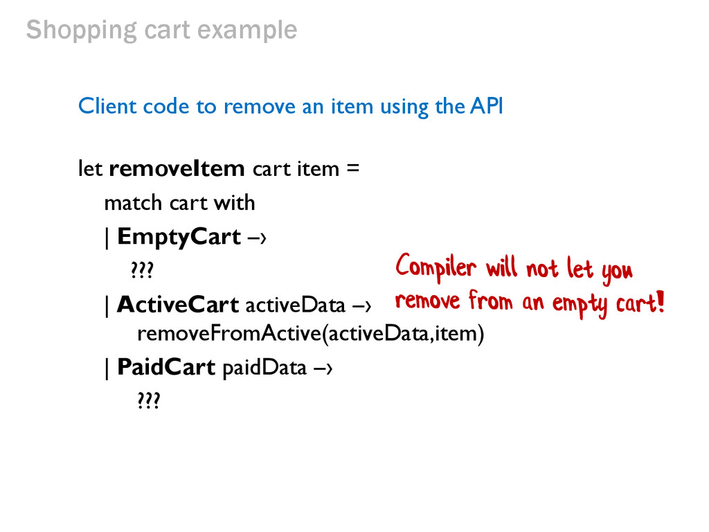 Shopping cart example Client code to remove an ...