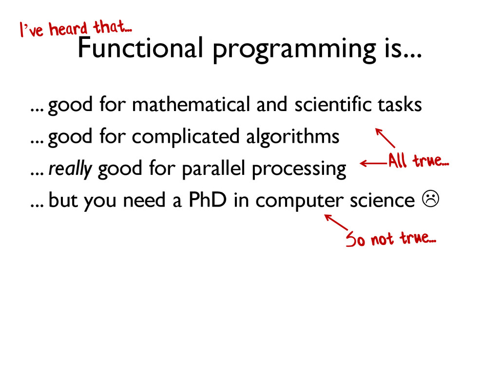 Functional programming is... ... good for mathe...
