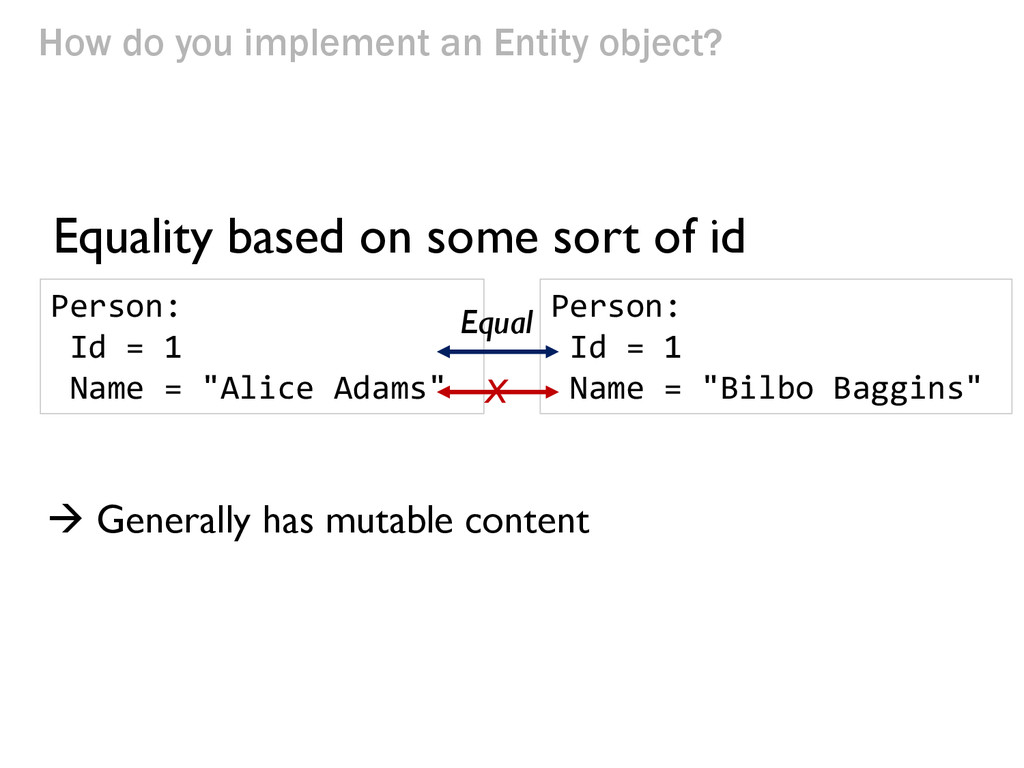How do you implement an Entity object? Equality...