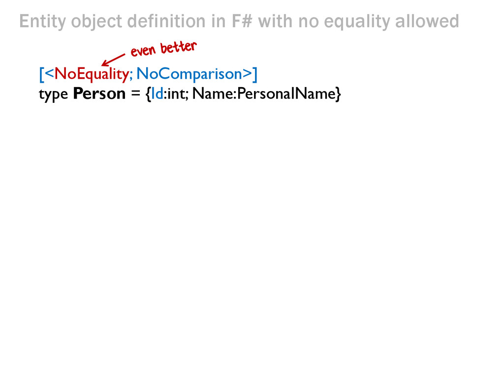 Entity object definition in F# with no equality...
