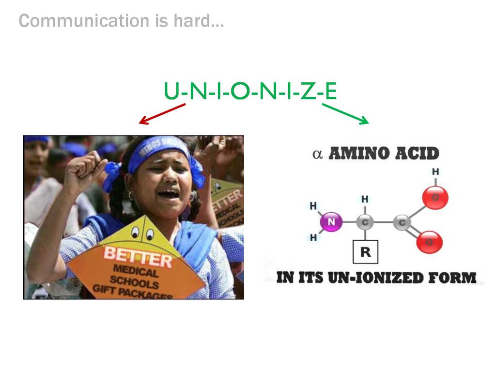 Communication is hard... U-N-I-O-N-I-Z-E U-N-I-...