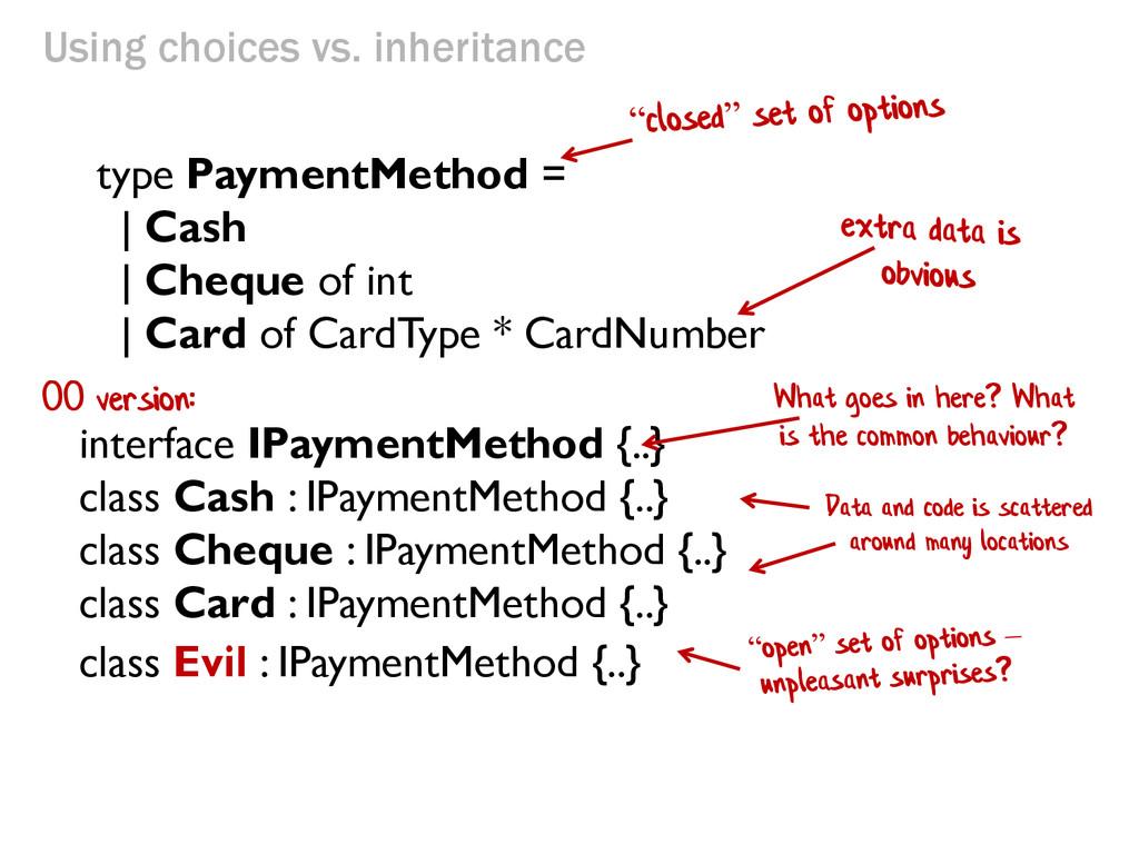 Using choices vs. inheritance interface IPaymen...