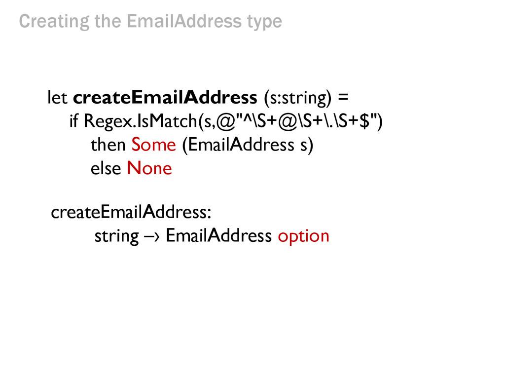 Creating the EmailAddress type let createEmailA...