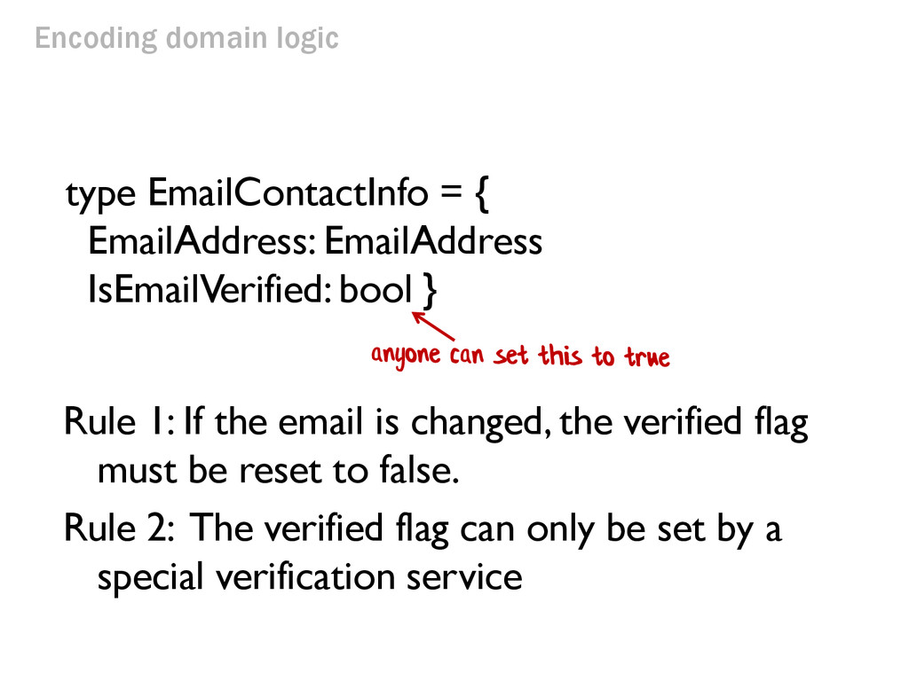Encoding domain logic Rule 1: If the email is c...