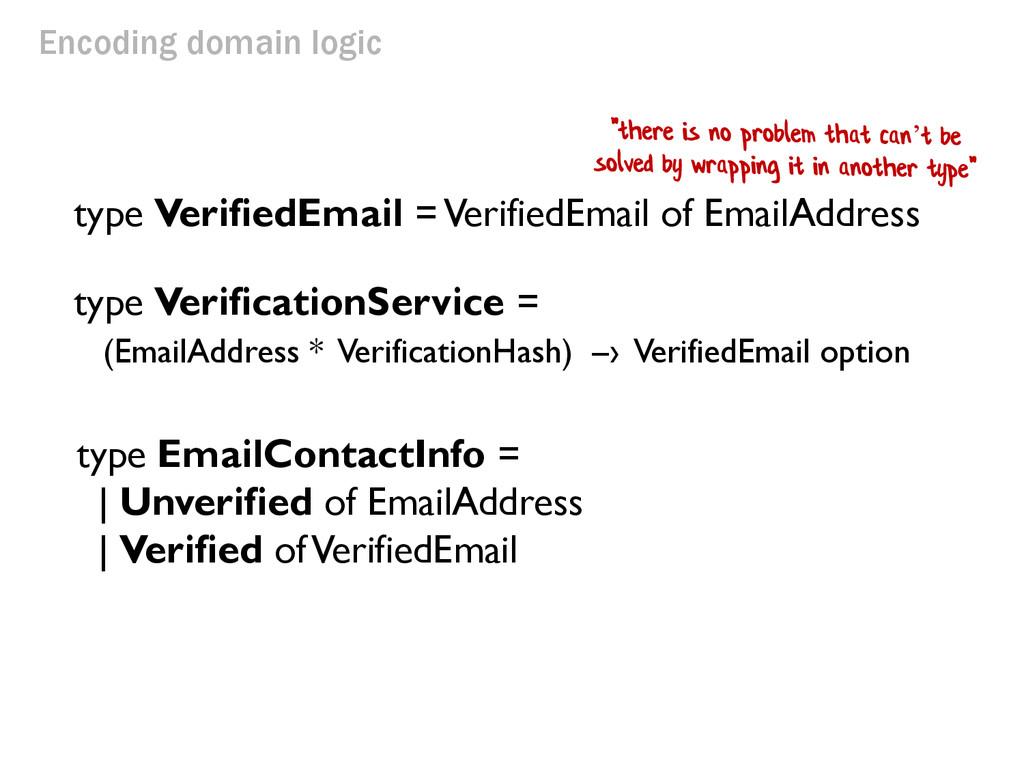 Encoding domain logic type VerifiedEmail = Veri...
