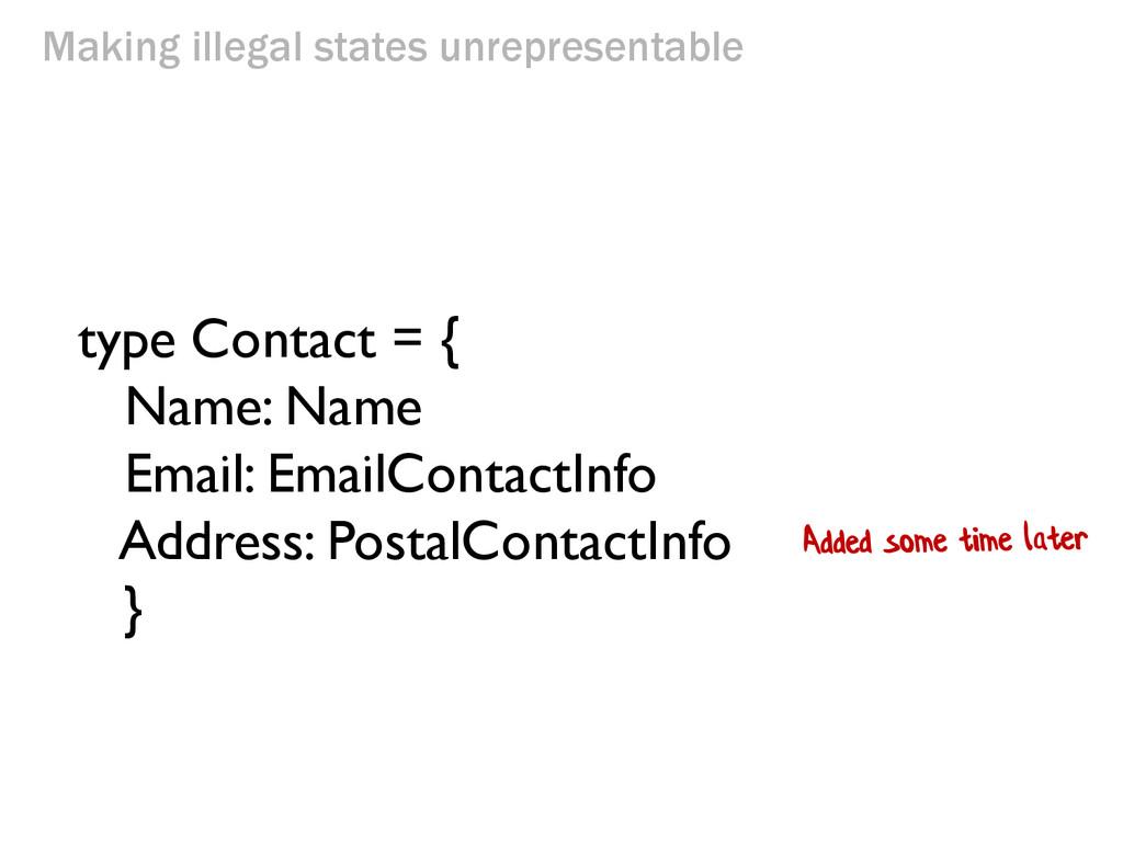 Making illegal states unrepresentable type Cont...