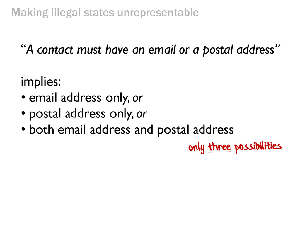 """Making illegal states unrepresentable """"A contac..."""
