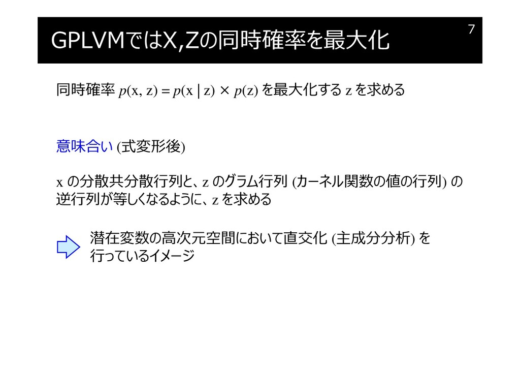 GPLVMではX,Zの同時確率を最大化 7 同時確率 p(x, z) = p(x   z) ×...