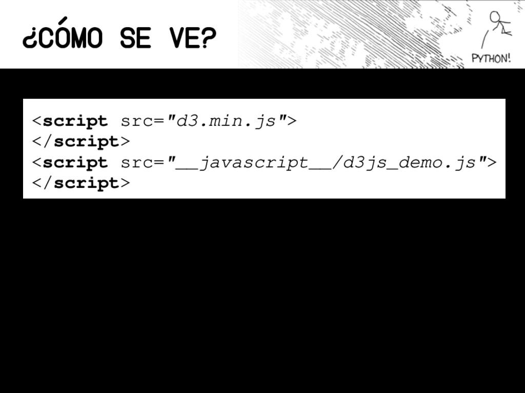 "¿Cómo se ve? <script src=""d3.min.js""> </script>..."