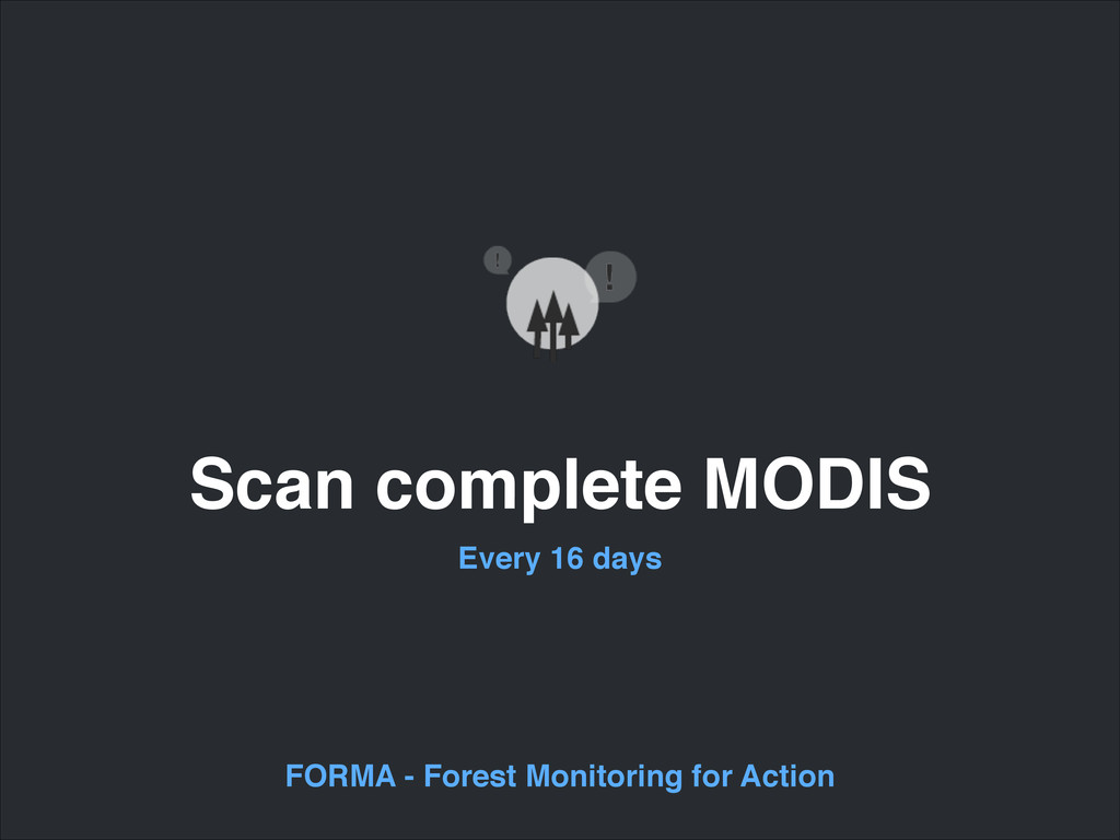 Scan complete MODIS Every 16 days FORMA - Fores...