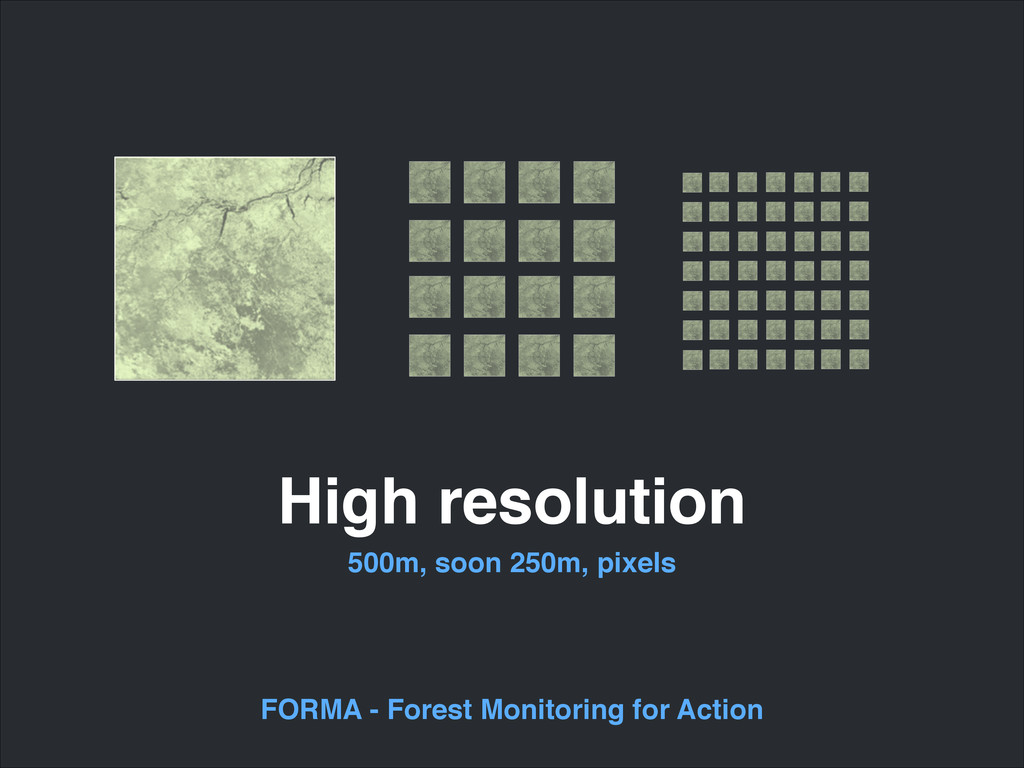 High resolution 500m, soon 250m, pixels FORMA -...