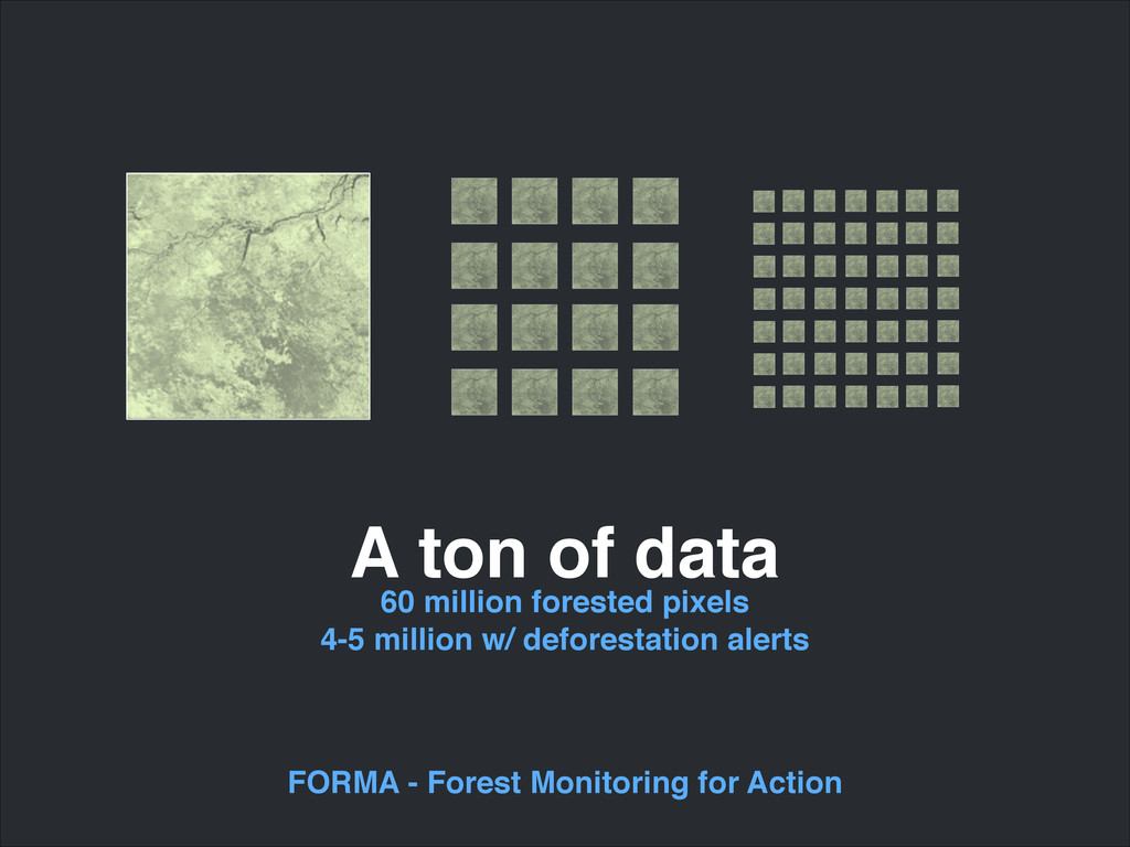 A ton of data 60 million forested pixels! 4-5 m...