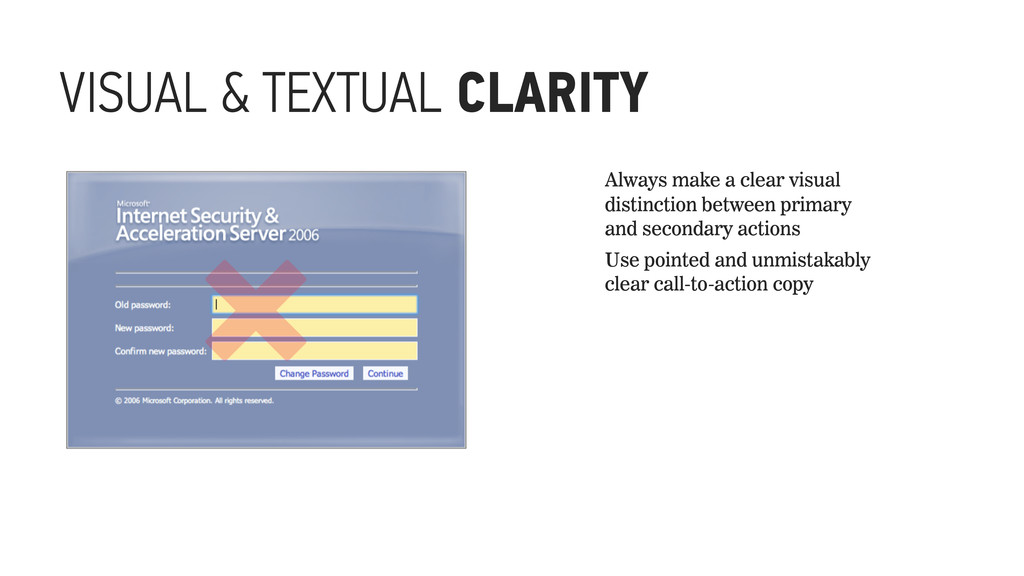 VISUAL & TEXTUAL CLARITY ␡ Always make a clear ...