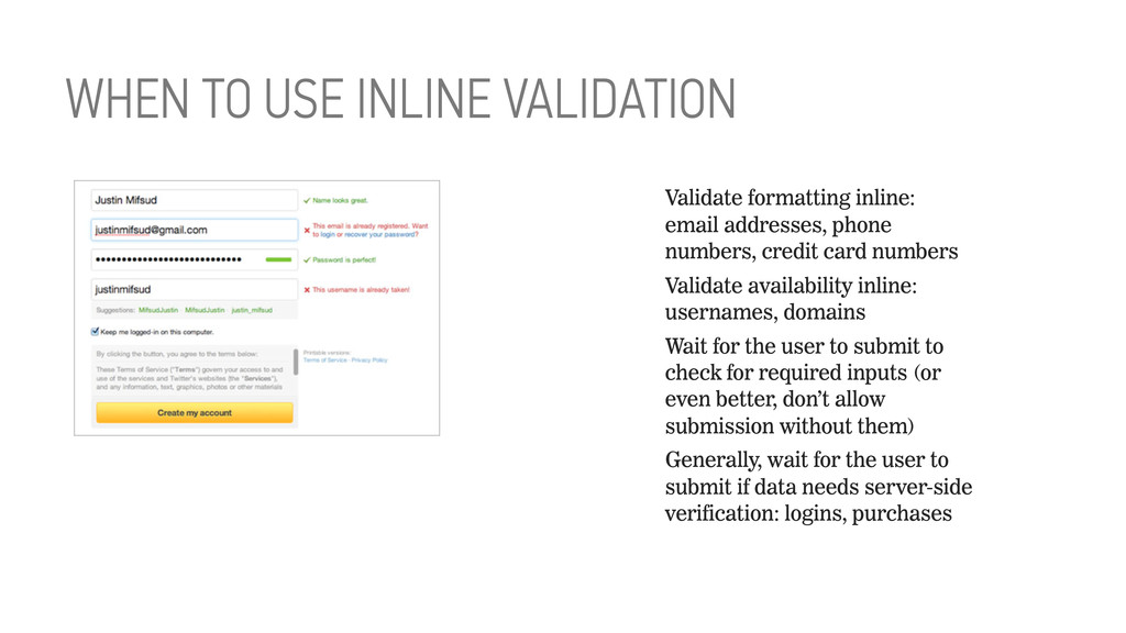 Validate formatting inline: email addresses, ph...