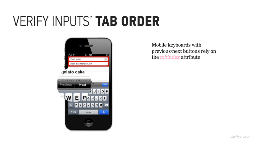 http://yelp.com Mobile keyboards with previous/...