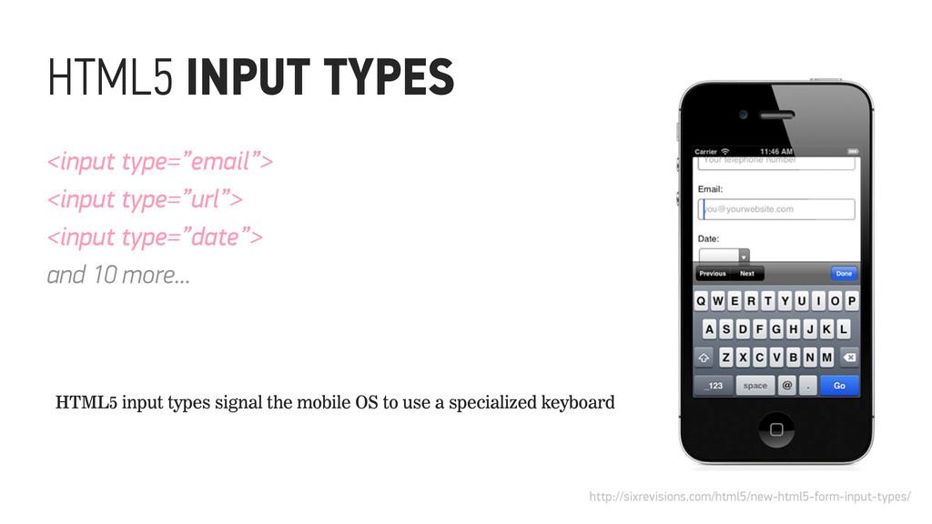 "<input type=""email""> <input type=""url""> <input ..."