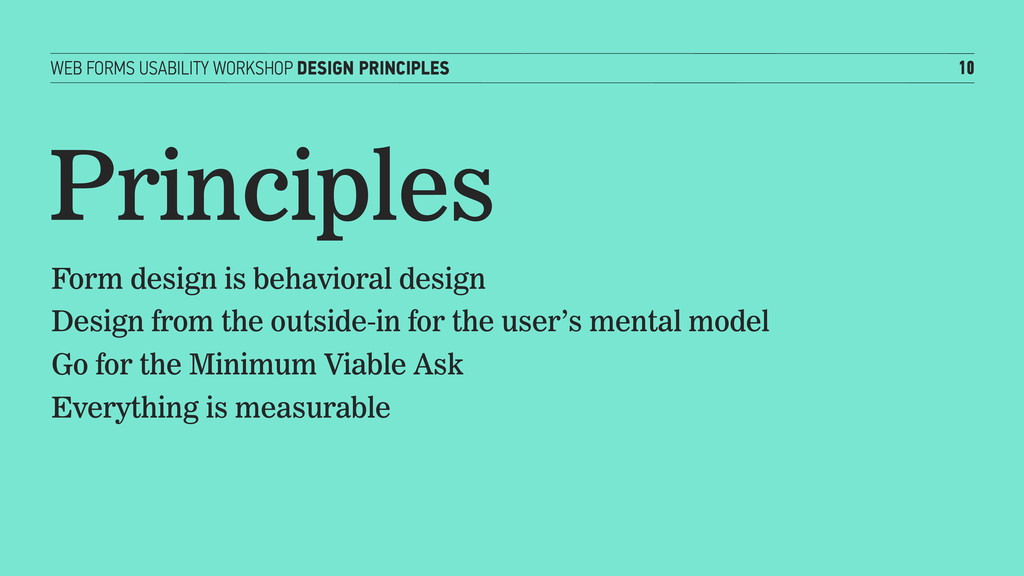 WEB FORMS USABILITY WORKSHOP DESIGN PRINCIPLES ...