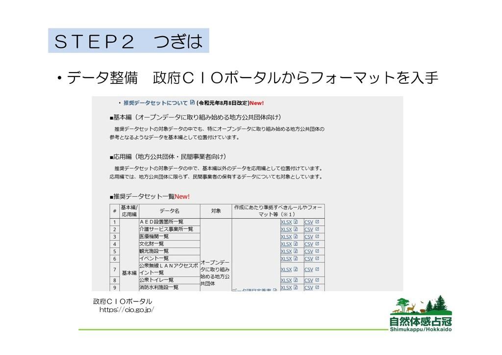 STEP2 つぎは ・データ整備 政府CIOポータルからフォーマットを入手 政府CIOポータル...