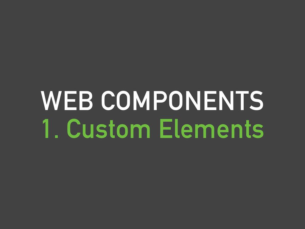 WEB COMPONENTS 1. Custom Elements