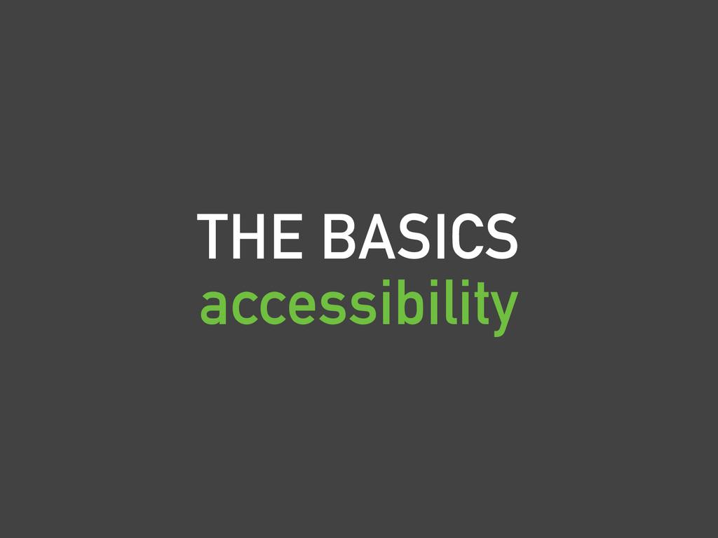 THE BASICS accessibility