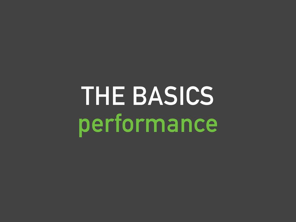 THE BASICS performance