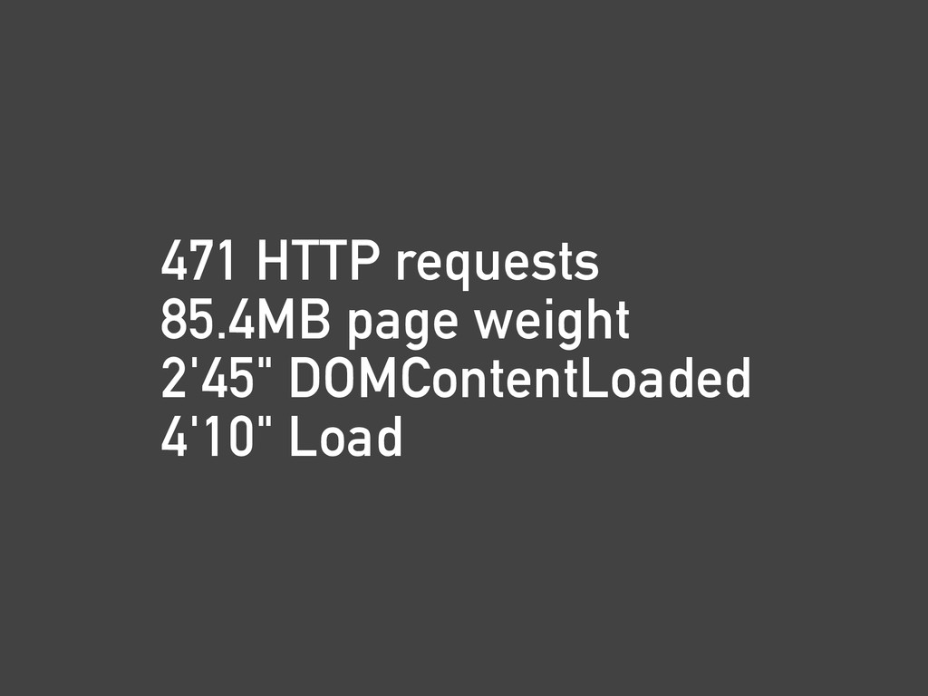 """471 HTTP requests 85.4MB page weight 2'45"""" DOMC..."""