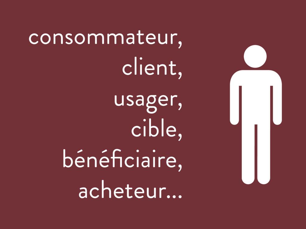 consommateur, client, usager, cible, bénéficiair...