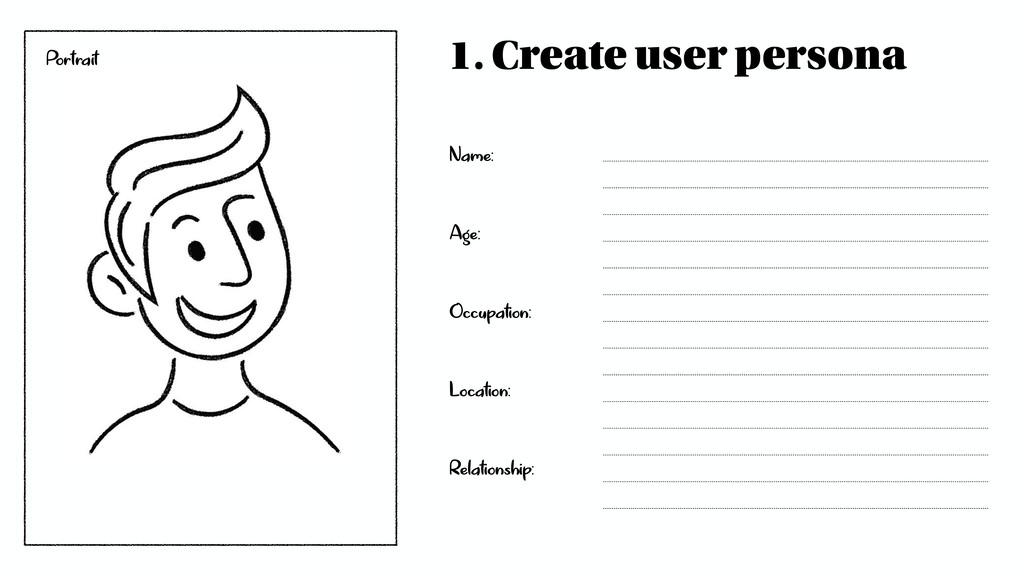 1. Create user persona Name: Age: Occupation: L...