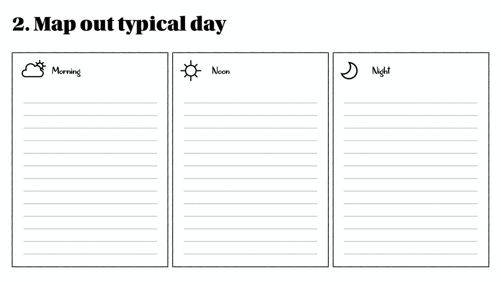 2. Map out typical day Morning Noon Night